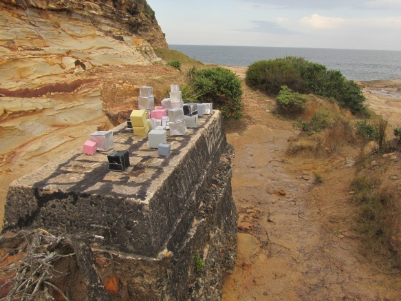 'Cubetown Colonial Outpost/ Rise and Fall' Still from stop motion video, paper, paint, ink, Royal National Park, 2015