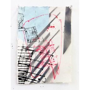 """Edge City Sketch #5"" Acrylic, Spray Paint on Paper, 21 x 29 cm, 2015"