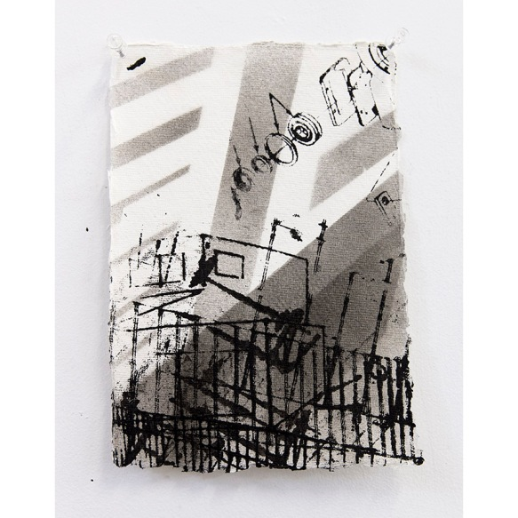 """Edge City Sketch #8"" Acrylic, Spray Paint on Paper, 21 x 29 cm, 2015"