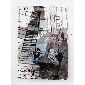 """Edge City Sketch #4"" Acrylic, Spray Paint on Paper, 21 x 29 cm, 2015"