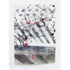 """Edge City Sketch #6"" Acrylic, Spray Paint on Paper, 21 x 29 cm, 2015"